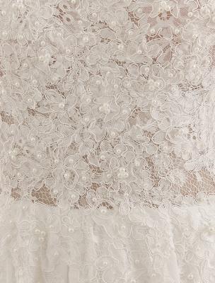 Wedding Dresses Chiffon V Neck Beach Bridal Dress Pearls Beaded Lace Ivory Bridal Gown_8