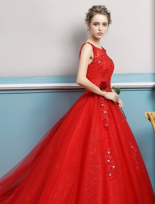 Red Wedding Dresses Lace Applique Beaded Princess Ball Gowns Train Bridal Dress_5