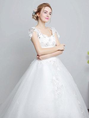 Prinzessin Brautkleider Elfenbein Backless Brautkleid Spitze Applique V-Ausschnitt Langer Zug Brautkleid_5