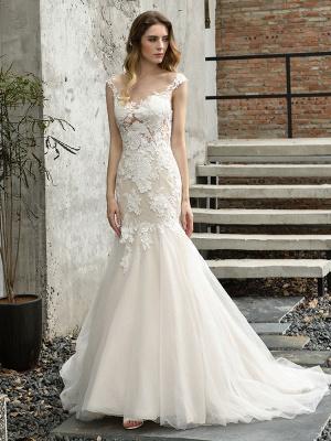 Wedding Dress Jewel Neck Sleeveless Natural Waist Lace Bridal Mermaid Dress With Train_8
