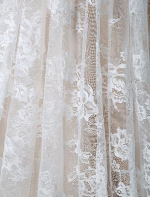 Einfaches Hochzeitskleid 2021 V-Ausschnitt A-Linie Kurzarm Tiefes V Backless Lace Brautkleider_9