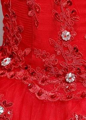 Brautkleid aus Spitze schulterfrei Elfenbein A-Linie Lace Up Half Sleeve Pailletten bodenlangen Brautkleid_8