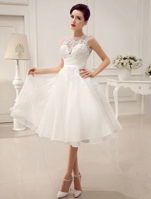 Kurze Brautkleider Vintage 1950er Brautkleid rückenfrei Spitze Perlen Plissee Pailletten Illusion Hochzeitsempfang Kleid mit exklusiven_3