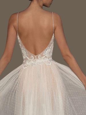Vestidos de novia Una línea Cuello en V Correas sin mangas Con cuentas Hasta el suelo Vestidos de novia de tul con lunares_3