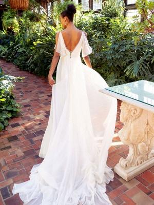 Weißes einfaches Brautkleid Chiffon V-Ausschnitt Ärmellos A-Linie Rückenfrei Natürliche Taille Lange Brautkleider_3