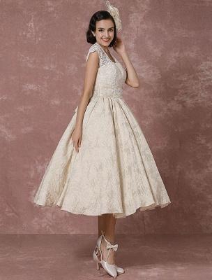 Kurzes Brautkleid Spitze Champagner Vintage Brautkleid Ballkleid Perlen Backless Tee-Länge Brautkleid Mit Schärpe Exklusiv_6