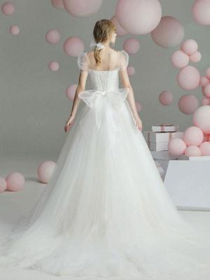 Ballkleid Brautkleid Prinzessin Silhouette Schatz-Ausschnitt Kurze Ärmel Baskische Taille Kapelle-Schleppe Brautkleider_3
