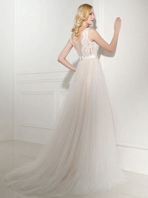 Simple Wedding Dress Tulle Jewel Neck Sleeveless Pearls A Line Bridal Gowns_4
