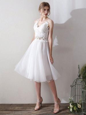 Short Wedding Dresses V Neck Sleeveless A Line Natural Tea Length Waist Organza Bridal Dresses_2