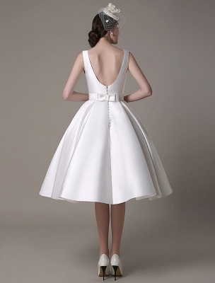 Ivory Wedding Dress Scoop Backless Knee Length Satin Wedding Gown Exclusive_11