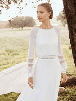 Ivory Simple Wedding Dress With Train Chiffon Jewel Neck Long Sleeves Lace A Line Bridal Gowns_3