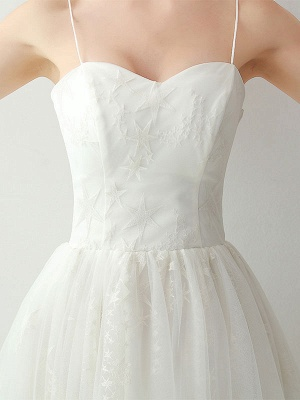 Short Wedding Dress2021 A Line Sweetheart Neck Sleeveless Tea Length Natural Waist Tulle Bridal Dresses_6