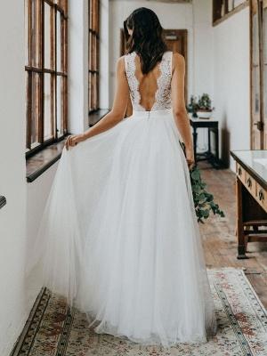 Simple Wedding Dress Tulle A Line V Neck Sleeveless Lace Floor Length Bridal Dresses_2