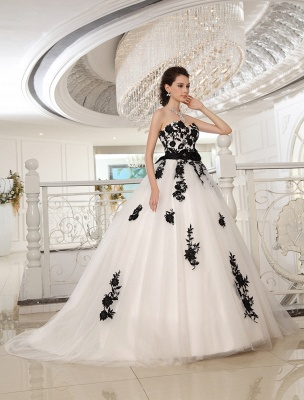 Wedding Dresses Strapless Black Bridal Gown Lace Applique Flowers Sash Beaded Court Train Ivory Tulle Bridal Dress Exclusive_2
