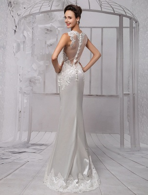 Sexy Lace Deep V-Neck Beaded Sheath/Column Illusion Back Bridal Gown Exclusive_4