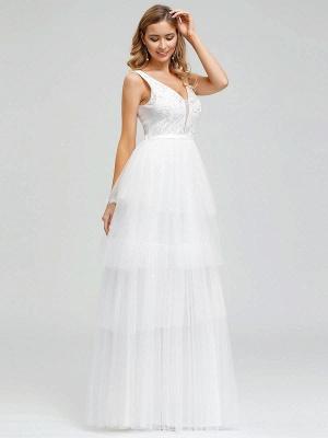 Vestido de novia 2021 Una línea Cuello en V Sin mangas Vestido de pastel de tul multicapa Vestido de novia_5