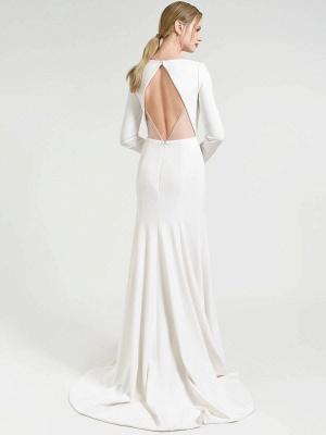 Weißes einfaches Hochzeitskleid Hof-Zug-Satin-Stoff V-Ausschnitt 3/4 Ärmeln Meerjungfrau Brautkleider_3
