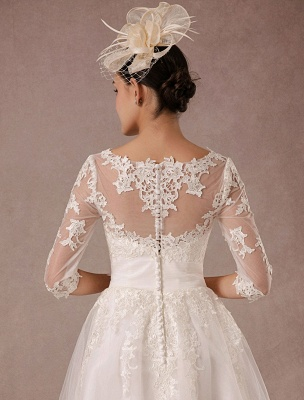 Short Wedding Dress Vintage Lace Applique Long Sleeves Tea Length A Line Tulle Bridal Gown With Flower Sash Exclusive_9