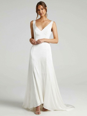 Weißes einfaches Brautkleid A-Linie V-Ausschnitt Ärmellos Rückenfreies Chiffon Brautkleider_1