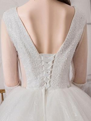 Brautkleid Prinzessin Silhouette Bodenlangen V-Ausschnitt Ärmellos Natürliche Taille Perlen Lycra Spandex Brautkleider_8