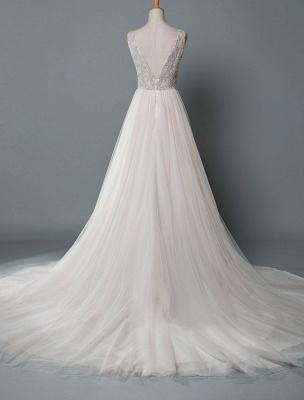 Einfaches Hochzeitskleid A-Linie V-Ausschnitt ärmellose Applikationen Perlen bodenlangen Brautkleider_3