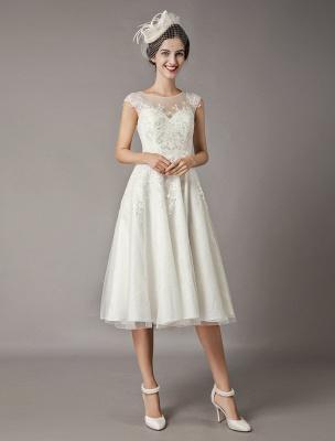 Vintage Brautkleider Kurze Spitze Tüll Pailletten Tee Länge Elfenbein Brautkleid_3
