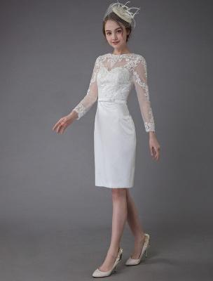 Vintage Brautkleider Jewel Langarm Etui Kurzes Brautkleid Exklusiv_3