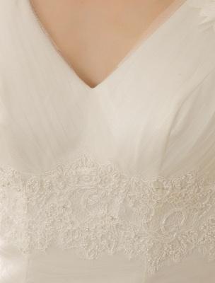 V-Neck Mermaid Brides Wedding Dress With Flowers Detailing_5