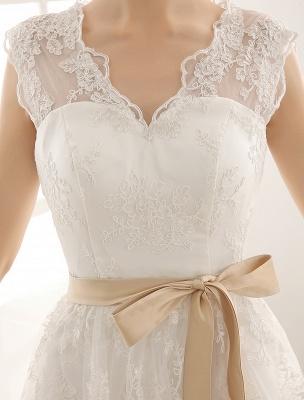Ivory Simple Wedding Dresses 2021 Lace Applique V Neck Ribbon Sash Short Bridal Dress Exclusive_5