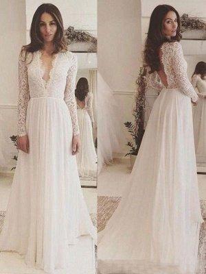 Einfache Brautkleider Chiffon V-Ausschnitt mit langen Ärmeln Spitze A-Linie Brautkleider mit Zug_1