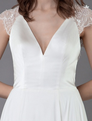 Strand-Hochzeitskleider-Spitze-Satin-A-Linie-Elfenbein-Luxus-Rücken-Kreuz-High-Split-Sommer-Brautkleider-Mit-Zug_9