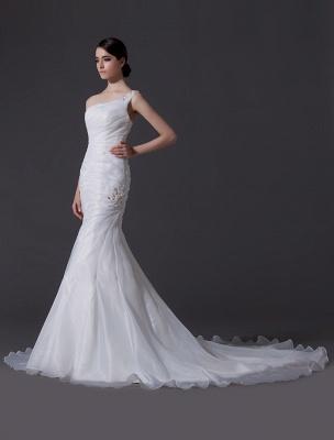 Ivory One-Shoulder Ruched Organza Mermaid Wedding Dress_2