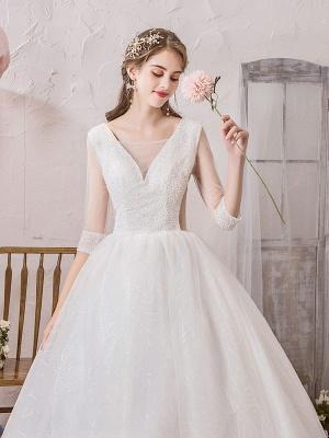 Brautkleid Prinzessin Silhouette Bodenlangen V-Ausschnitt Ärmellos Natürliche Taille Perlen Lycra Spandex Brautkleider_7