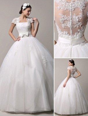 Kurzarm-Spitze-Prinzessin-Hochzeitskleid mit mehrlagigem Tüllrock Exklusiv_1