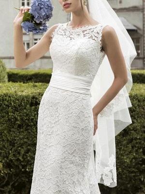 Einfache Brautkleider Spitze Jewel Neck Sleeveless Sash Mermaid Brautkleider mit Zug_3