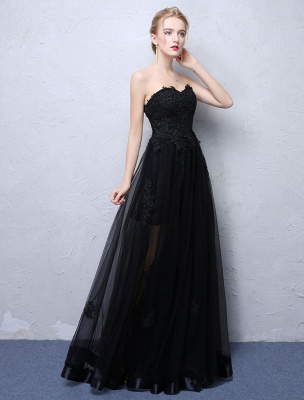 Black Prom Dresses Strapless Long Party Dress Lace Applique Sweetheart Illusion Formal Evening Dress_4