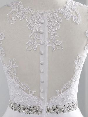 Brautkleider 2021 A Line Perlen Jewel Neck Ärmellos Bodenlangen Tüll Traditionelles Brautkleid Mit Schleppe_5
