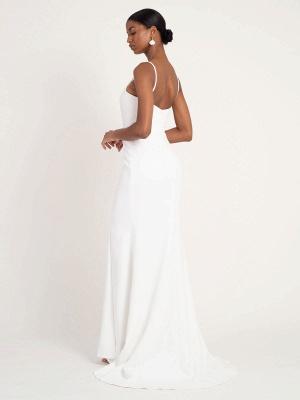White Simple Wedding Dress Mermaid V-Neck Sleeveless Spaghetti Straps Natural Waist Satin Fabric Split Front Bridal Gowns_2