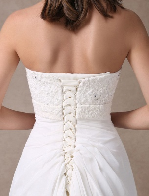 Beach Wedding Dresses Ivory Chiffon Strapless Lace Beaded Summer Bridal Gowns With Train Exclusive_7