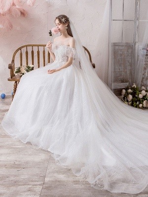 Wedding Dress Princess Silhouette Jewel Neck Short Sleeves Natural Waist Cathedral Train Bridal Dresses_5