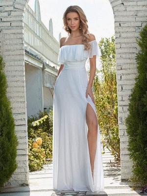 Weißes einfaches Brautkleid Chiffon Bateau-Ausschnitt Ärmellos Split Front A-Linie Lange Brautkleider_2