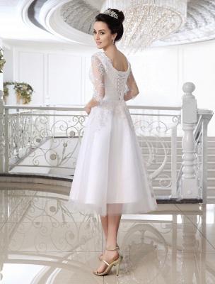 Einfache Brautkleider 2021 Kurze Spitze Applique Illusion Halbarm Tee Länge Brautkleid Exklusiv_4