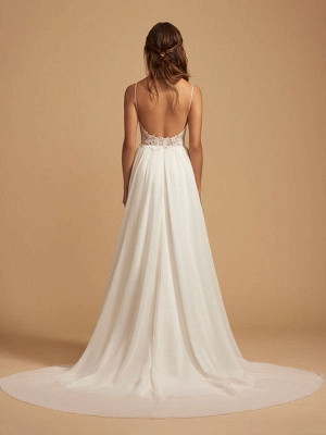 Simple Wedding Dress 2021 A Line V Neck Straps Sleeveless Lace Chiffon Bridal Dresses With Train For Beach Party_2