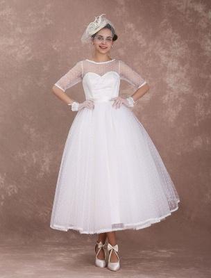 Vintage Brautkleid 50er Jahre kurzes Brautkleid Elfenbein rückenfrei Polka Dot halbe Ärmel Schatz Schleife Schärpe Weddig Empfangskleid exklusiv_2