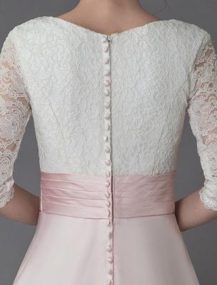 Brautkleider Rosa V-Ausschnitt Halbarm Plissee A-Linie Brautkleid Mit Zug Exklusiv_11