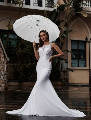 Customize Wedding Dress With Train Sleeveless Beaded Square Neck Bridal Gowns_2