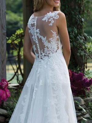 Brautkleid Spitze V-Ausschnitt Ärmellos Mantel Bodenlangen Brautkleid Mit Hofzug_4