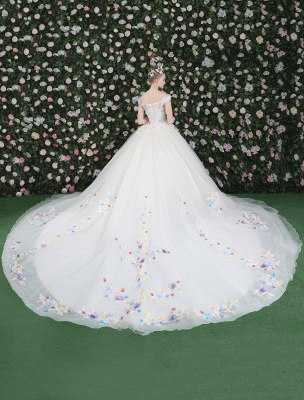Flowers Quinceanera Dresses White Luxury Off The Shoulder Rhinestones Beading Short Sleeve Women'S Pageant Dresses With Train_4