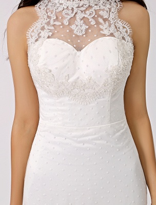 Vintage Inspired Illusion Neck Sheath/Column Wedding Dress With Lace Overlay Exclusive_7