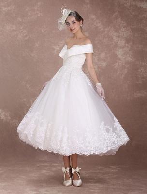 Vintage Wedding Dresses Off The Shoulder Short Bridal Dress 1950'S Lace Applique Beaded Tea Length Wedding Reception Dress Exclusive_2